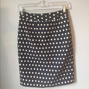 Embroidered blue and white polka-dot pencil skirt